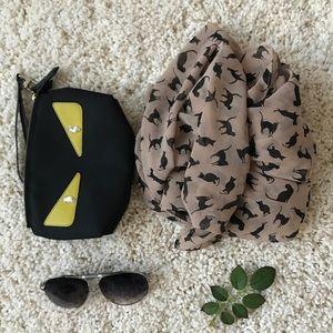 Silk-like scarf in cat 🐱 🐱 pattern